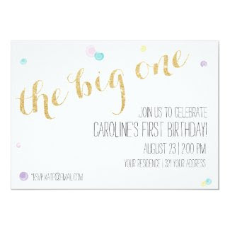 Girly First Birthday Invitation - Glitter Gold