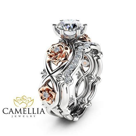 Floral Moissanite Engagement Ring Set 14K Two Tone Gold