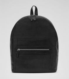 Reiss Raza Leather Backpack Black
