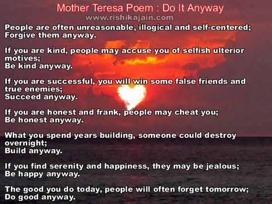 Mother Teresa Quotes Do It Any Way. QuotesGram