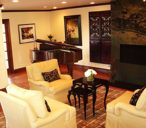 Modern living room with Asian Accents - a third view with Baby Grand piano modern living room