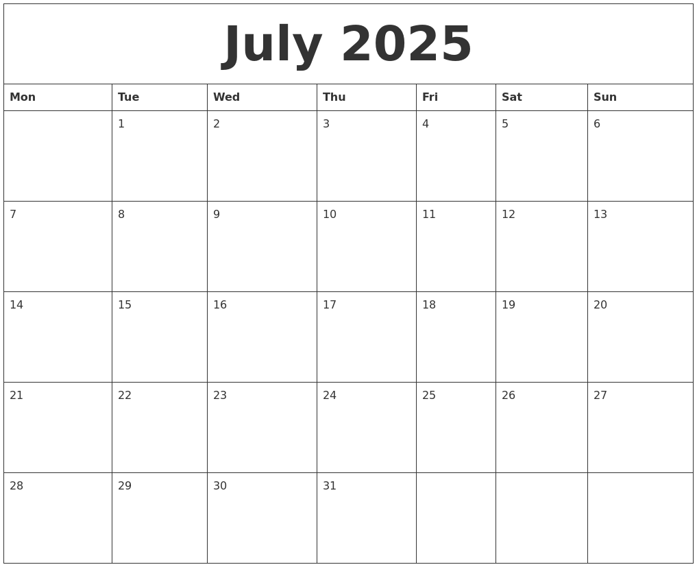 july 2025 free calendar printable monday start