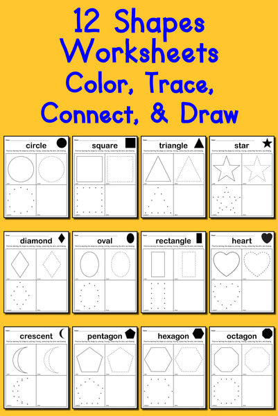 12 Shapes Worksheets: Color, Trace, Connect, & Draw ...