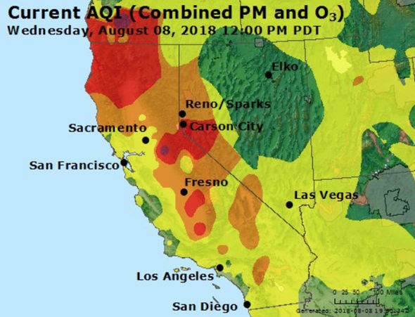 Lake Tahoe Air Quality Index At Unhealthy Right Now Due