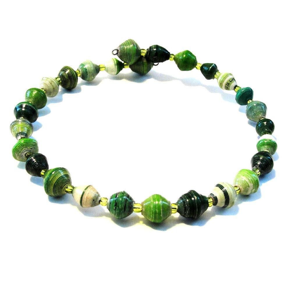 Green Recycled Uganda Bead Necklace Choker