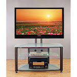 """VTI Rfr 403 55"""" Flat Panel TV Stand-Black Frame and Frosted Glass"""