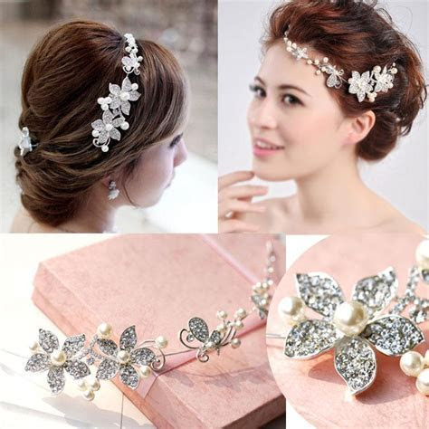 Cheap 2015 Tiaras Hair Accessories Bridal Pearls Beads