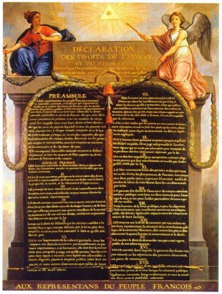 O documento oficial da Declaração dos Direitos Humanos contém vários símbolos ocultos referentes a sociedades secretas.  Primeiro, o símbolo do Olho Que Tudo Vê dentro de um triângulo, cercado pela luz da estrela flamejante Sirius, encontra-se acima de tudo (esse símbolo também é encontrado no Grande Selo dos Estados Unidos).  Debaixo do título é descrito um Ouroboros (a serpente comendo a própria cauda), um símbolo esotérico associados a alquimia, gnosticismo e hermetismo, os ensinamentos fundamentais da Maçonaria.  Logo abaixo do Ouroboros é um barrete frígio vermelho, um símbolo que representa revoluções iluministas em todo o mundo.  A Declaração inteira é guardada por pilares maçônicos.