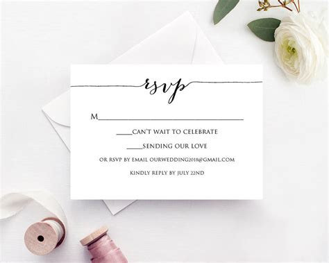 RSVP Cards Rsvp Card Template Rsvp Cards Wedding RSVP Card