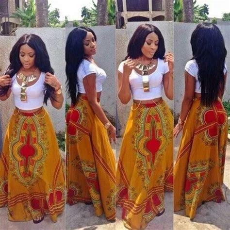 Green Harvest Long African Dashiki Skirt OOAK by