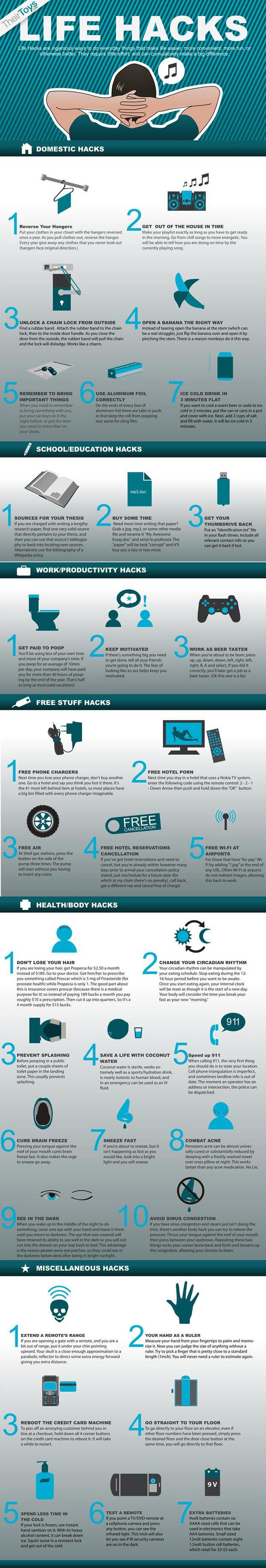 life hacks infograph