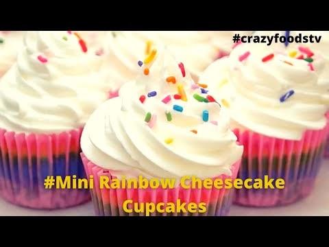 Simple Tasty Mini Rainbow Cheesecake Cupcakes