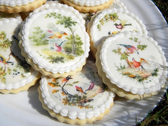 image edible paper wafer cookie pixie decoration birds tropical