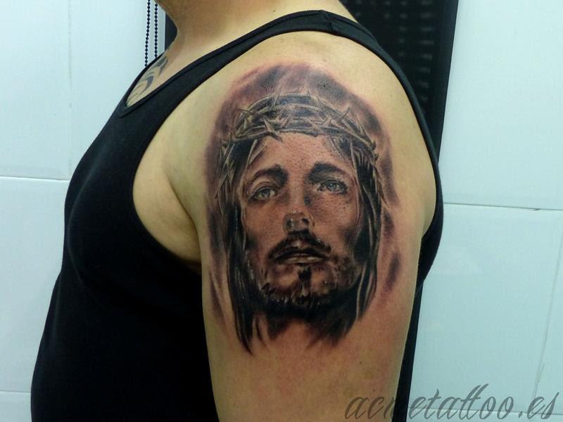 Cristo Jesucristo Brazo Corona Espinas Acme Tattoo Tatuaje