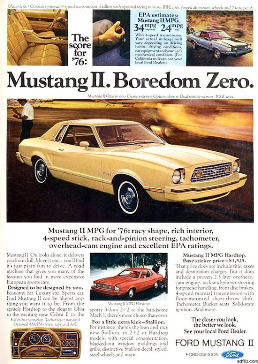 1976 Ford Mustang Print Ad