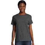 Hanes 5680 Women's Relaxed Fit Jersey ComfortSoft Crewneck T-Shirt - Charcoal Heather