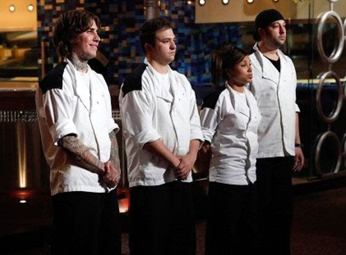 The four HELL'S KITCHEN Season 9 finalists: Tommy Stevens, Paul Niedermann, Elise Wims and Will Lustberg.