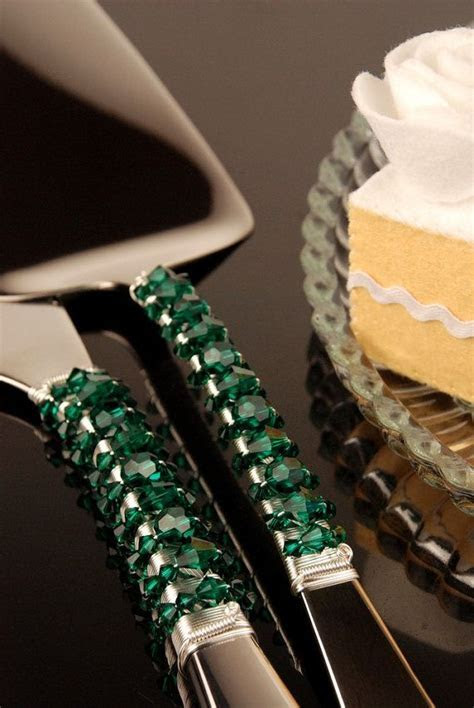 HALF PRICE SALE Emerald green wedding cake serving set