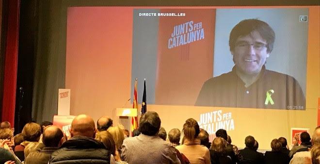 Puigdemont, en un acto vía streaming.- EUROPA PRESS