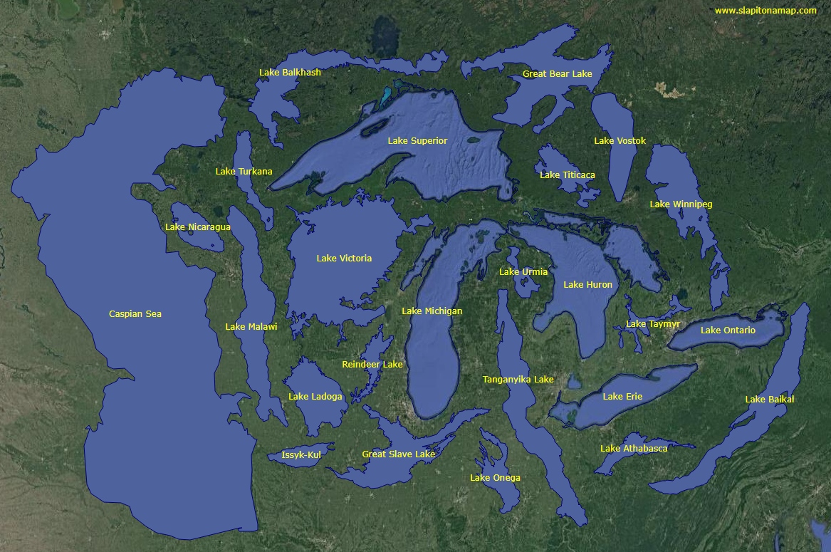 The World's 25 Largest Lakes, Side by Side