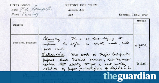 Alan Turing's school report reveals little of his genius | Science | The Guardian