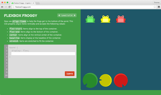 Learning CSS Layout with Flexbox Froggy – Thomaspark