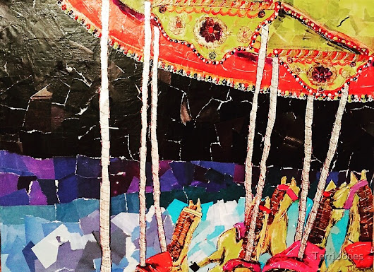 """Carousel- Mixed Media Collage"" by Terri Jones 