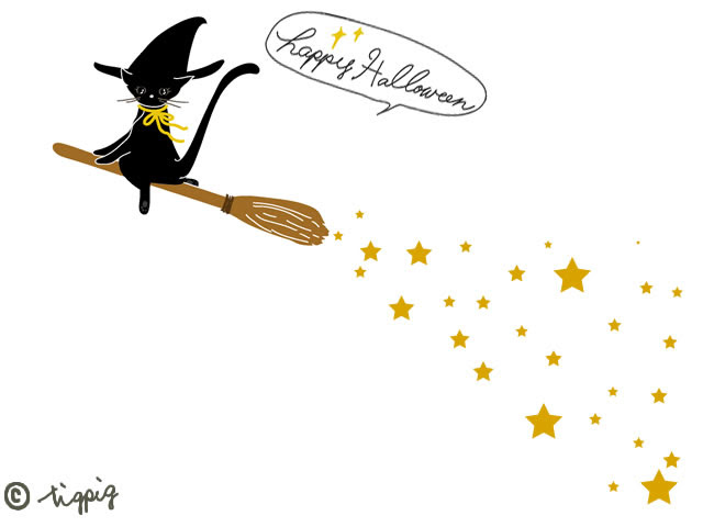 ハロウィンのhp制作に使える大人可愛い黒猫と魔女のホウキの星屑の