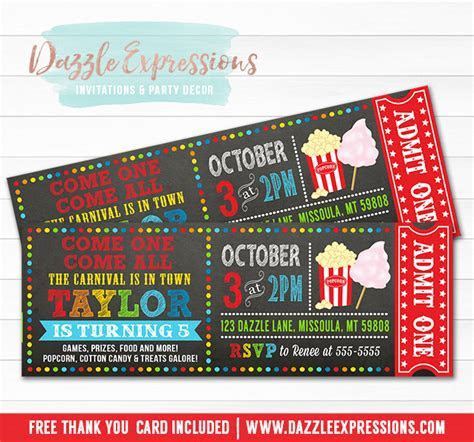 Printable Carnival Chalkboard Ticket Birthday Invitation