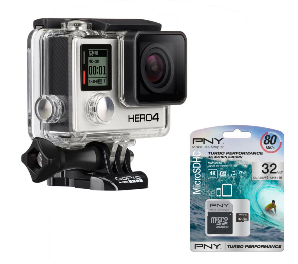 Buy GOPRO HERO 4 Action Camcorder, Silver Edition & microSD Memory Card - 32 GB   Free Delivery ...