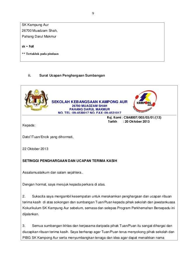Contoh Surat Rasmi Ucapan Terima Kasih Kepada Menteri Rasmi Ru