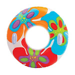 Intex 58263EP Groovy Color Inflatable Tropical Flower Transparent Tube Raft by VM Express