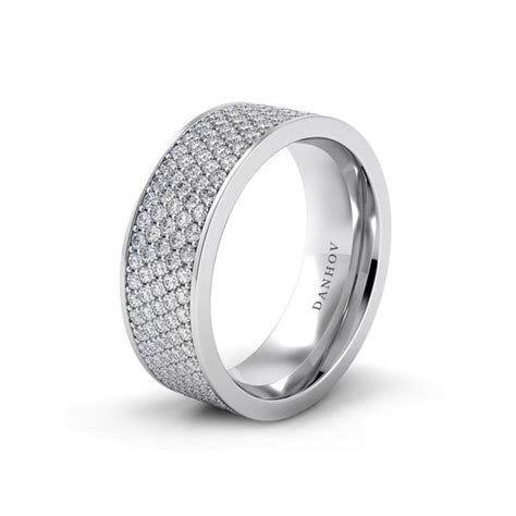 wide pave diamond wedding band  platinum  white gold