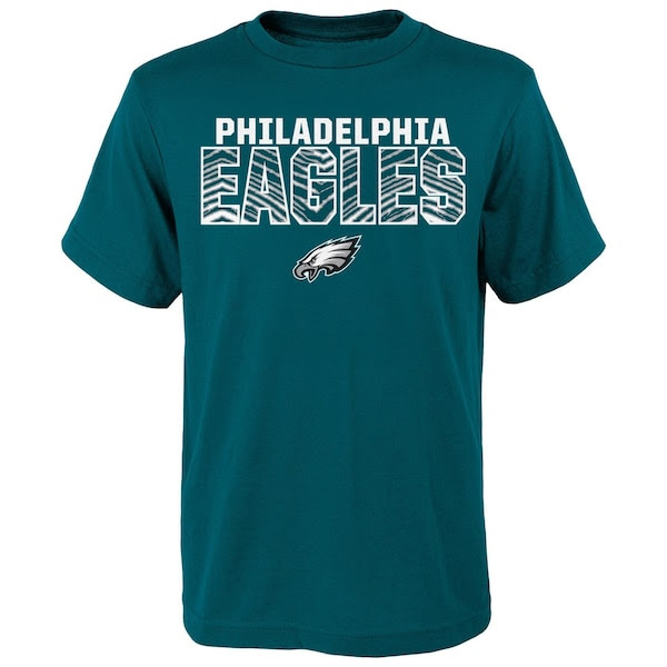 Youth Zubaz Green Philadelphia Eagles Double Edge TShirt