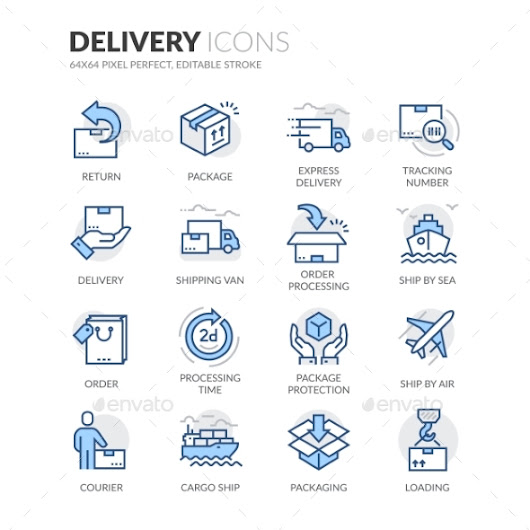 Line Delivery Icons by davooda | GraphicRiver