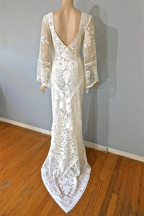Details about Mermaid Vintage Lace Wedding Dress Bridal