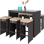 Best Choice Products 7-Piece Outdoor Rattan Wicker Bar Dining Patio Furniture Set