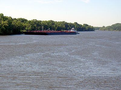 Barge at refinery from JAR Bridge