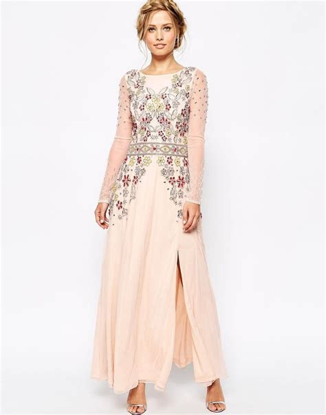 Frock and Frill Long Sleeve Embellished Maxi Dress With