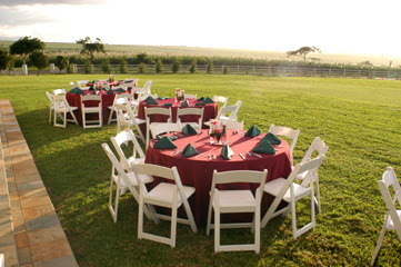 Reception setup at Sunnyside Farms in Makawao, Maui