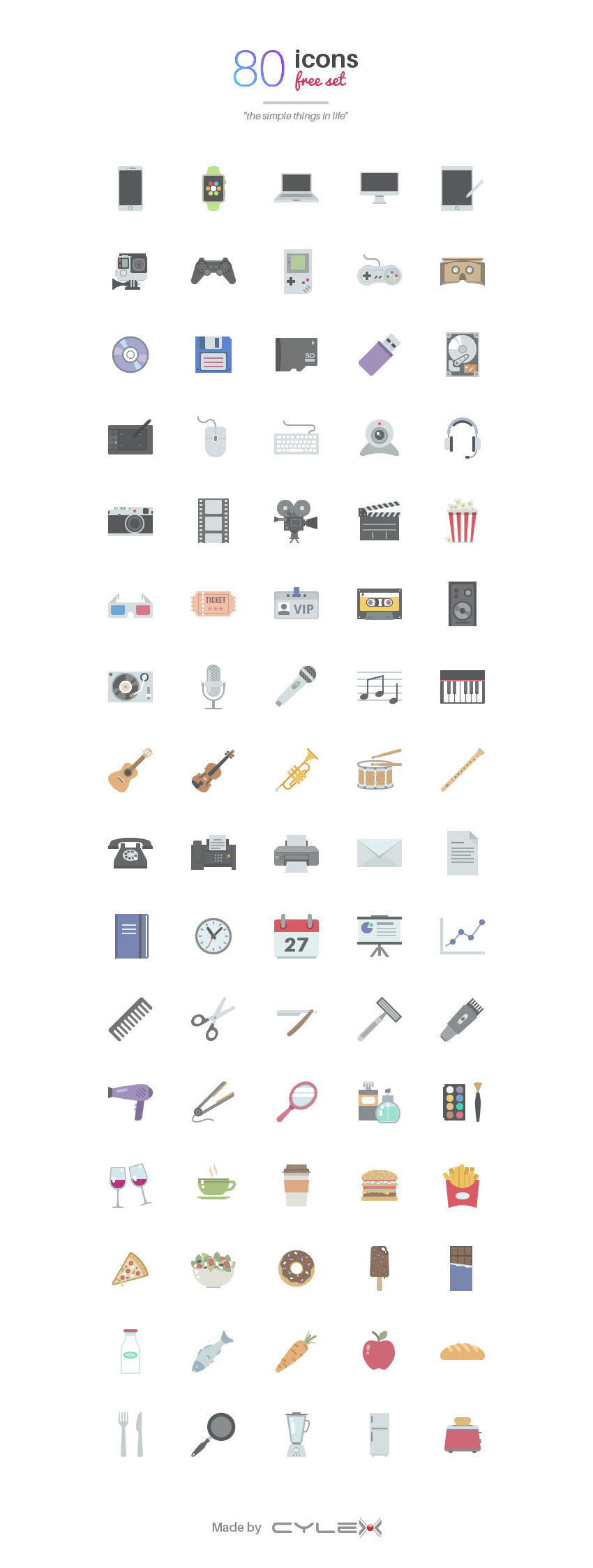 Things in Life: 80 Free Icons set for PSD, AI, PNG