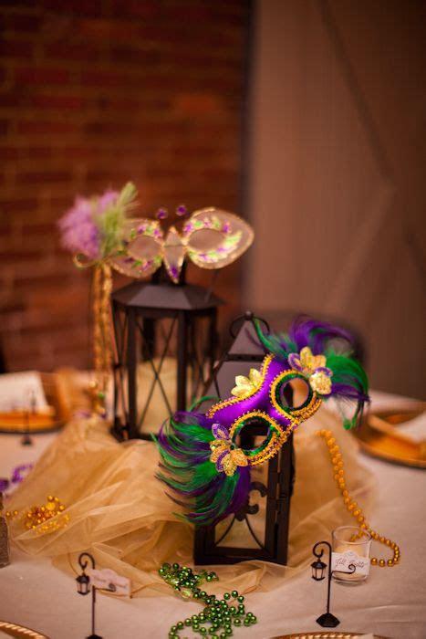 wrought iron lantern centerpiece  mardi gras masks