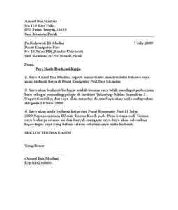 Contoh Surat Rasmi Perletakan Jawatan Notis Sebulan Surat Hh