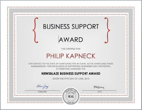 Philip Kapneck Wins NewsBlaze 2015 Business Support Award For 40 Years Service «  MarketersMedia – Press Release Distribution Services – News Release Distribution Services