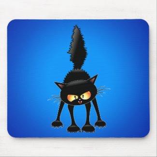 Funny Fierce Black Cat Cartoon Mousepads