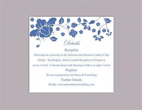 DIY Wedding Details Card Template Editable Word File