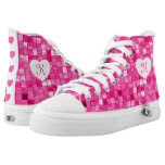 Personalize: Heart and Shades of Fuchsia Tile Printed Shoes