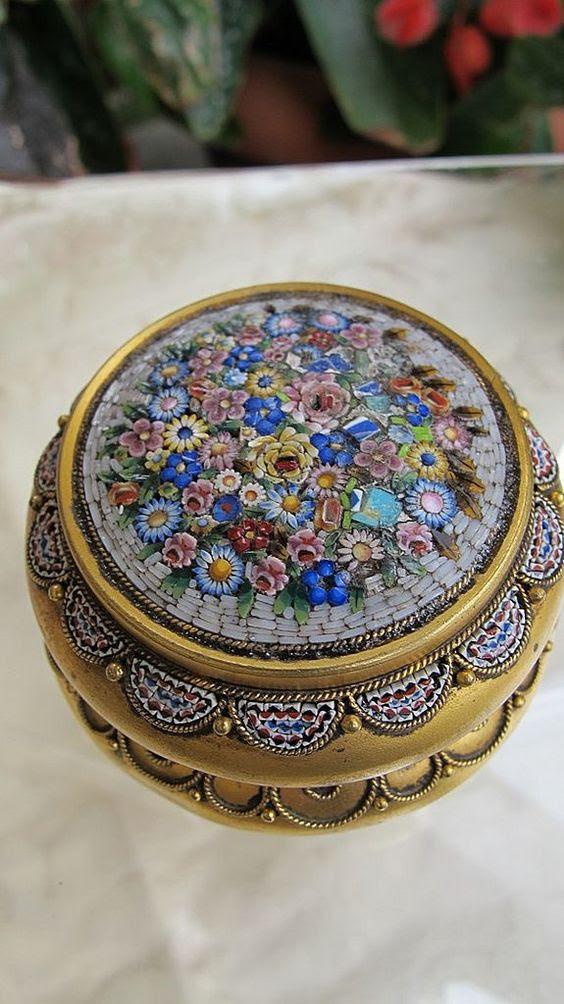 Italienischen micro-Mosaik-Schmuck-box sieht sehr süß und eye-catchy