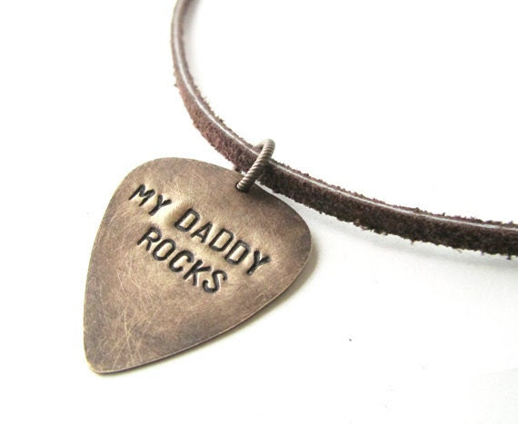 My Daddy Rocks mens necklace - Fathers Day Gift mens gift - guitar pick necklace - WyomingCreative