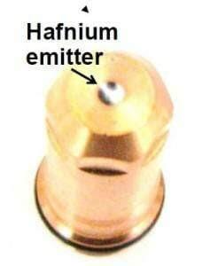hafnium emitter in plasma electrode